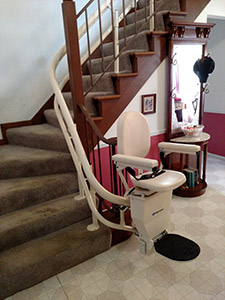 Granite City curved stair lift installation