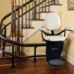 Harmar Helix curved stair lift parked around the corner