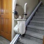 Harmar Pinnacle SL600 stair lift folded on stairs