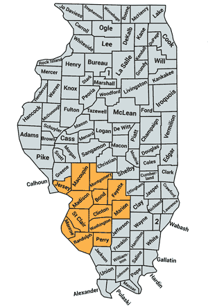 Map of Counties served in Illinois
