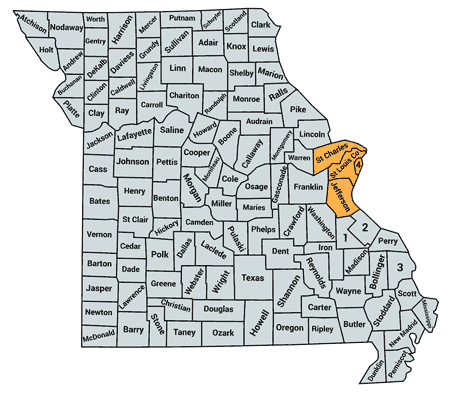 Map of Counties served in Missouri