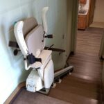 Commercial stair lift folded up