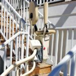 Harmar Helix outdoor curved stair lift on stairs for back deck