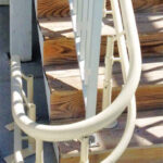 Harmar Helix outdoor curved stair lift rail on deck stairs