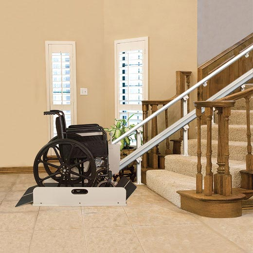 Harmar Sierra inclined wheelchair lift with a wheelchair on it