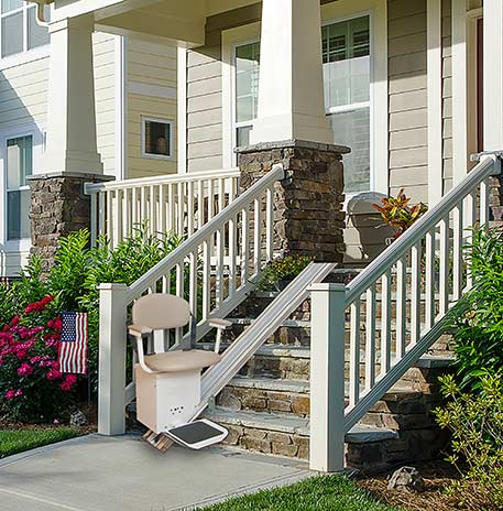 Harmar Summit SL350OD Outdoor Stair Lift on front porch