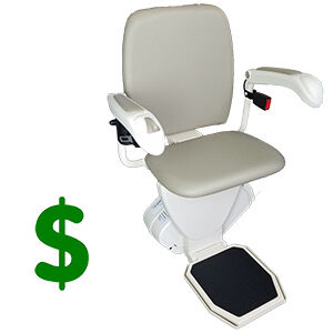 Stair lift next to dollar sign