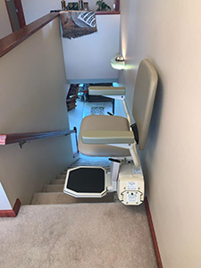 Fairview Heights stair lift at top of stairs