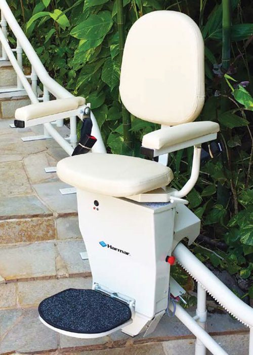 Harmar Helix outdoor curved stairlift installed and unfolded on outdoor stairs